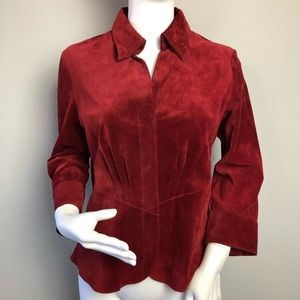 Red Suede Leather Shirt 3-Button Front Small